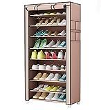 UDEAR Zapato del gabinete Zapatero de tela 10 niveles Zapateros y hormas para zapatos Marrón