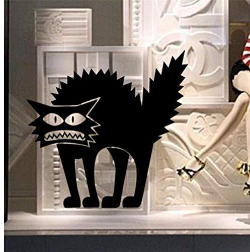 Wandaufkleber 11 x 12,5 cm PVC Schwarze Katze Wandaufkleber Halloween Flugzeug Cartoon Fensterglas Aufkleber Heiße Kinder Wohnkultur Aufkleber juli31