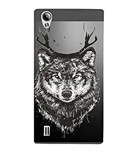 PrintVisa Animal Wolf Design 3D Hard Polycarbonate Designer Back Case Cover for Vivo Y15S