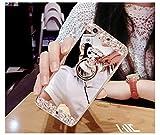FESELE Coque Huawei P10, Huawei P10 Cas,Coque Huawei P10 Miroir [ Bague Supporter] Luxe Crystal Rhinestone Bling diamant Briller TPU Souple en Caoutchouc Pare-chocs de Cas Miroir de Maquillage de Cas Caoutchouc Silicone Souple Étui Protecteur Anti-Scratch Bumper pour Huawei P10 + 1 X Stylo Bleu - Argent