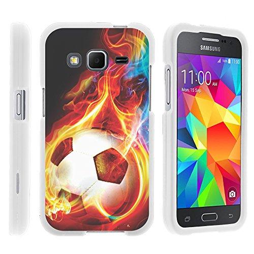 Miniurtle Schutzhülle für Samsung Galaxy Core Prime G360 (Boost-Mobile) (Hartschale, zum Aufstecken, inkl. Displayschutzfolie und Eingabestift), Flaming Soccer Ball