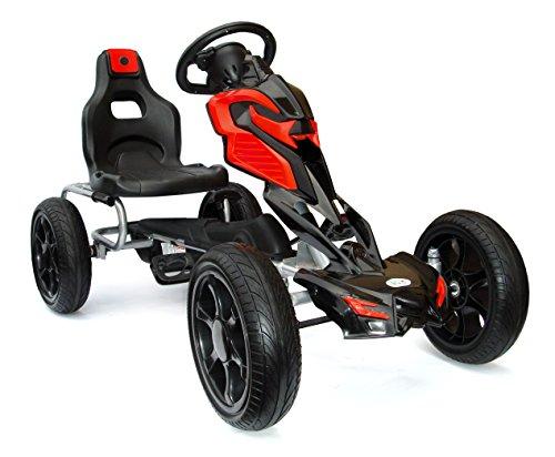 JOY 4KiDS #scout Go Kart à Pédale, porteur voiture à pédale, Go Chariot, pneus Eva 5–12 ans rouge