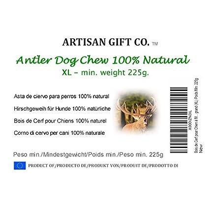 ARTISAN GIFT CO Corno di Cervo Ecologico da Masticare per Cani – Extra Grande (XL)