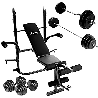 Weight Bench Set with Dumbbells (30 kg) Barbell (60 kg) and EZ Curl Bar (30 kg) for Home Gym Fitness by Physionics