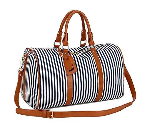 BAOSHA HB-24 Frauen Damen Segeltuch Weekender Tasche Reisetasche Handgepäck Canvas Travel Duffel Totes Weekend Overnight Bags Mit PU Leder Schulterriemen (Blau Streifen)