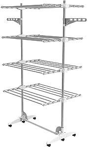 Todeco - Etendoir à Linge, Etendage à Linge - Matériau: Tubes en acier inoxydable - Charge maximale: 2,72 kg par barre de support - 4 étagères, Blanc, avec ailes