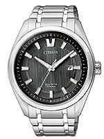 Citizen AW1240-57E - Reloj de cuarzo para hombre, con correa de titanio, color plateado de Citizen