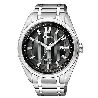 Citizen AW1240-57E – Reloj de Cuarzo para Hombre, con Correa de Titanio, Color Plateado