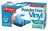 Marksman Powder Free Vinyl Gloves, Blue, Large - Pack of 100