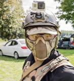 """OneTigris 6"""" Tactical Foldable Half Face Mask Protective Mesh Mask for Airsoft Paintball CS with Adjustable and Elastic Belt Strap"""