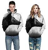 Mann & Frauen Hoodies Unisex 3D Drucken Liebhaber Hoodies Tier Avatare Pullover Sweatshirts Neuheit Langarm T-shirt Kühlen Beiläufigen Losen Parka Mantel (S-3XL) (Ein Wolf, L/XL)