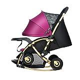 YXINY Kombikinderwagen Kinderwagen Kann Sitzen Liegend Zusammenklappbar Stoßfest Schaukelstuhl Multifunktionaler Kinderwagen Zwei-Wege-Wagen Baby Buggy ( Farbe : Lila )