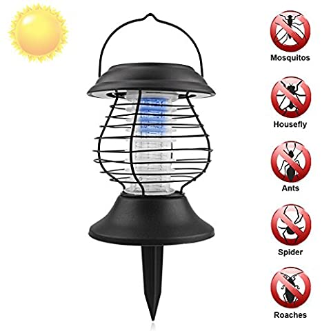 Insect Killer Lamp Solar Powered Outdoor Mosquito Killer LED Ultraviolet Light Bug Zapper Dual Modes Insect Killer Light and Garden Lamp,Hang or Stake in the Ground for Patio Yard Outdoors by