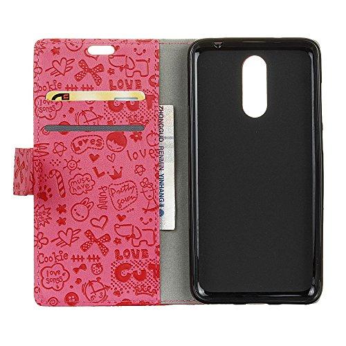 Xiaomi Redmi 5 Plus Funda Faux Cuero Billetera Funda para Xiaomi Redmi 5 Plus con Stand Funci  n Rosa roja