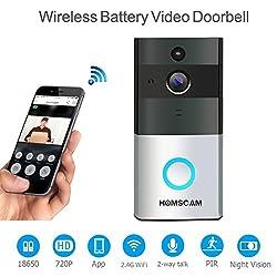HOMSCAM Video Türklingel Wi-Fi aktiviert drahtlose Türklingeln mit Zwei-Wege-Audio-Motion-Sensor und Nachtsicht (eingebaute 8G-Karte)