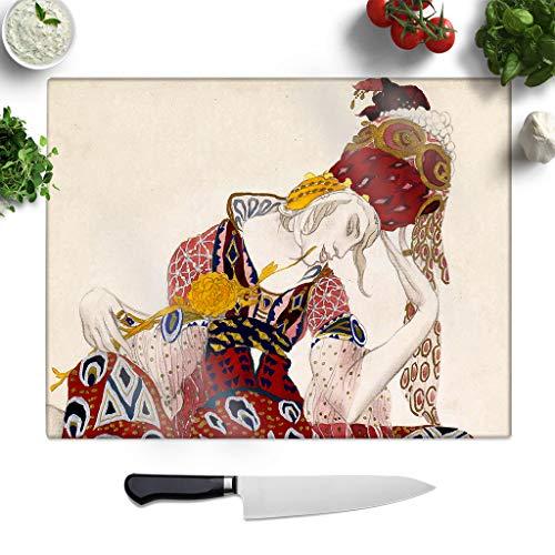 Leon Bakst Kostüm - BIG Box Art Glasschneidebrett mit Leon Bakst Kostüm, Kunstdruck, Kleiner Arbeitsflächenschutz, Servierplatte, Mehrfarbig, 27,5 x 19,5 cm