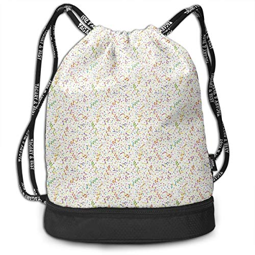 LULABE Printed Drawstring Backpacks Bags,Festive and Colorful Confetti Pattern Happy Occasion Theme Dots Stars and Streamer,Adjustable String Closure
