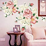 yanQxIzbiu 927A Wandaufkleber Pfingstrose Blume Wandaufkleber, Abnehmbarer Aufkleber DIY Wandbild Kunst TV Hintergrund Decor