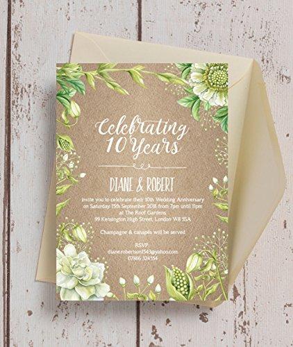 Rustikales Greenery personalisierbar Hochzeit Einladungen mit Umschlägen (10Stück)