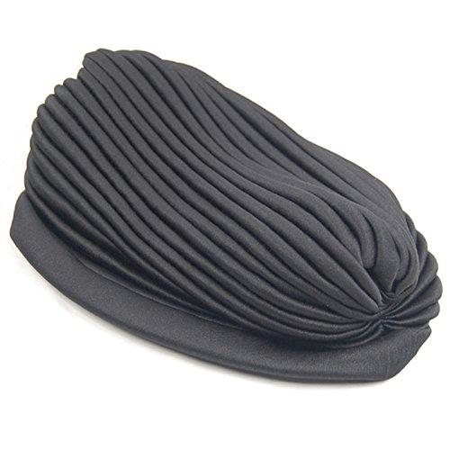 Sultan Kostüm Hat - Polyester gefaltet Turban Kopf wickeln Kopf wickeln Kappe Twist Hut (schwarz)