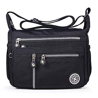 ABLE Mujer Bolsos de Moda Impermeable Mochilas Bolsas de Viaje Bolso Bandolera Sport Messenger Bag Bolsos Mano para Tablet Escolares Nylon (0-Calla Flores)