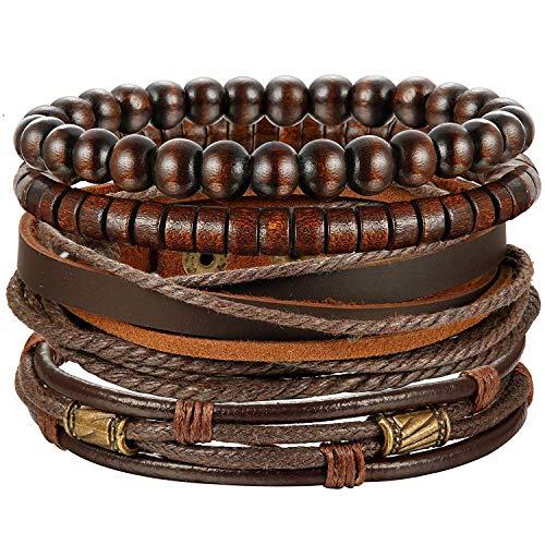Finrezio Bracelet Cuir Tressé Bracelet Perle de Bois pour Homme Femme Vintage Cuir Véritable Brun