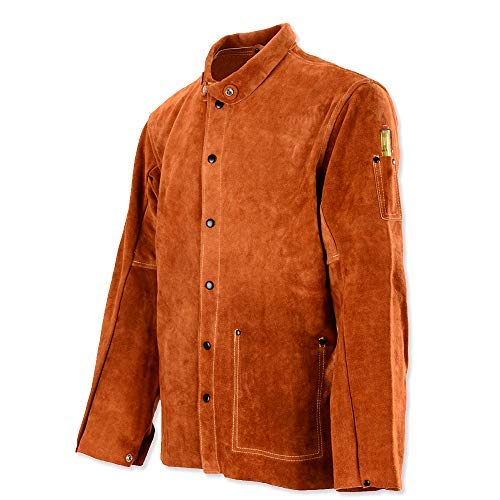 Price comparison product image Leaseek Leather Welding Work Jacket Flame-Resistant Heavy Duty Split Cowhide Leather (XXX-Large) Brown
