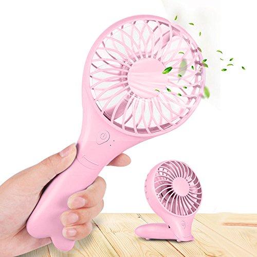 Handventilator Tragbarer, Aodoor USB Ventilator Leise Mini Lüfter mit Aufladbarem für Reisen und Zuhause, Rosa Usb Wiederaufladbare Fan