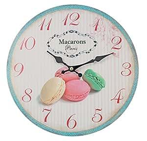 Horloge murale-mACARONS de paris-diamètre :  28 cm-vintage shabby horloge