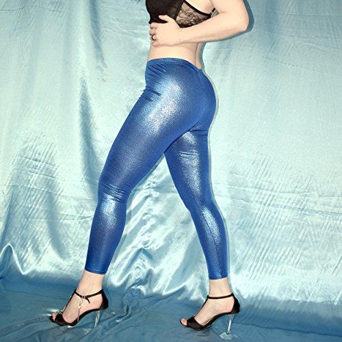 shiny WETLOOK LEGGINS versch. Farben* S * Lack Leggings* Gymnastik Spandex Hose (rot) Blau