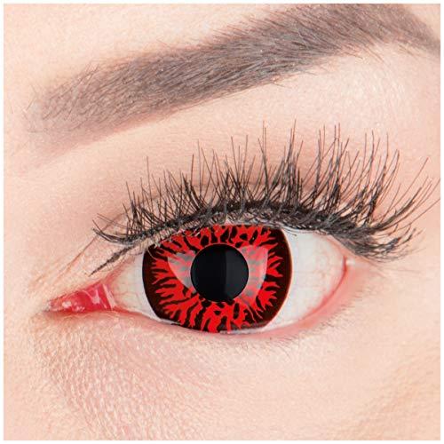 (Farbige Mini Sclera Halloween Kontaktlinsen 'Red Demon' - 17mm MeralenS Horror Lenses inkl. Behälter - 1Paar (2 Stück))