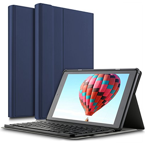 IVSO Das neue Fire HD 10 QWERTZ Tastatur, Abnehmbare Wireless Bluetooth Tastatur Schutzhülle mit Standfunction für All-New Amazon Fire HD 10,1 Zoll (7th Gen.- 2017 Modell) Tablet, Blau