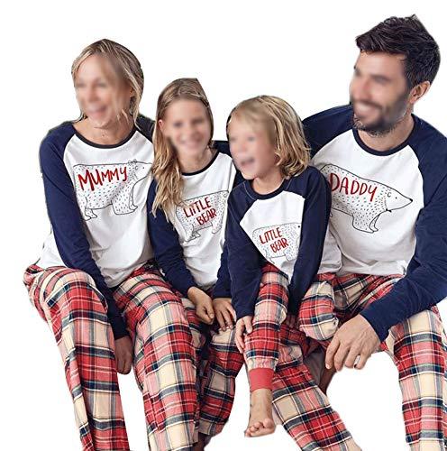 Family Matching Pajamas Set Bear Pjs Plaid Sleepwear Nightwear (Baby, 80)
