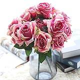 Longra Wohnaccessoires & Deko Kunstblumen Künstliche Rose Silk Blumen 5 Blüte Blatt Garten Dekoration DIY Rosa Blume (E1: 1 Strauß 7 Köpfe)