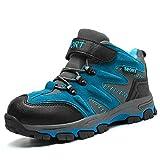 Winterschuhe Kinder Warm Gefüttert Trekking Wanderschuhe Winter Stiefel mit Klettverschluss für Jungen -31 EU-Blau