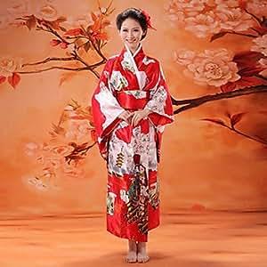 TY Costume de satin rouge de luxe japonais Kimono femme avec l'arc