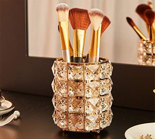 2 PCS Pinsel Holder, Dustproof Makeup Brush Organizer Kristallglas Lipstick Holder Mit Free Perlen Kristallglas Makeup Organisator Für Dresser, Schlafzimmer, Bad,Gold