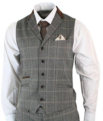 Herrenanzug Beige 3 Teilig Kariert Tweed Design Wolle Vintage Retro Stil Tailored Fit (Tweed Vintage-anzug)