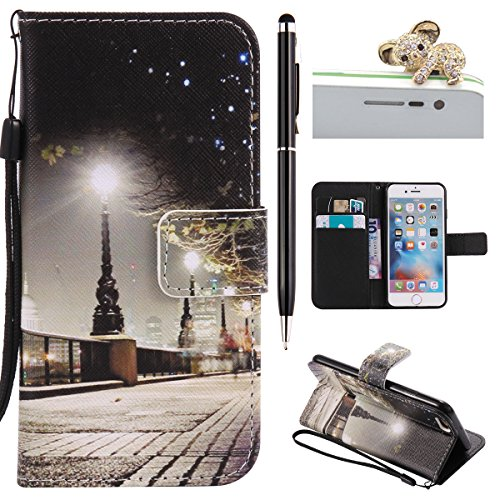 iPhone 6 Hülle,iPhone 6S Case - Felfy Flip Bookstyle Wallet Luxe Handyhülle Retro Painted Niedlich Farbe Muster Premium Slim PU Leather Stand Wallet Flip Lederhülle Case Cover Pouch Shell Soft mit TPU Stadt in der Nacht Cas