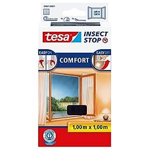 tesa Insect Stop COMFORT Fliegengitter Fenster - Insektenschutz mit Klettband selbstklebend - Fliegen Netz ohne Bohren - Anthrazit, 100 cm x 100 cm