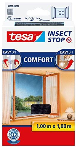 tesa Insect Stop COMFORT Fliegengitter Fenster - Insektenschutz mit Klettband selbstklebend - Fliegen Netz ohne Bohren - anthrazit (durchsichtig), 100 cm x 100 cm - Über Nacht Zusätzlichen Schutz