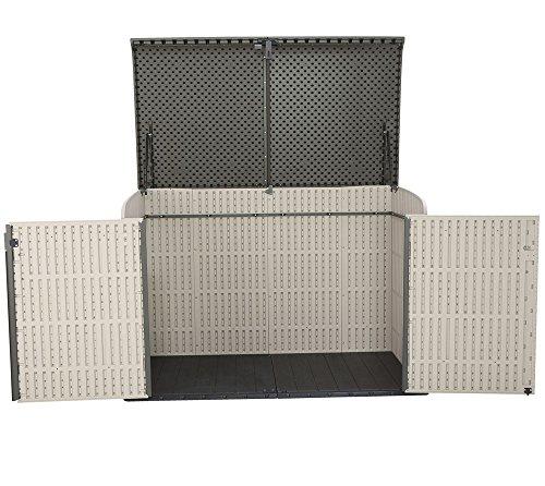 Lifetime XXL Kunststoff Mülltonnenbox, Gerätebox, Aufbewahrungsbox // BxTxH 190x108x132cm // Gartengerätebox für Mülltonnen - 6