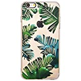 iPhone 6 Plus Hülle, Transparente Bumper Case TPU Weiche Silikon Schutzhülle, Schwarze Loch Kamera, Malerei Muster Hülle für Apple iPhone 6 Plus / 6S Plus (5.5 Zoll) - Tropische Blätter