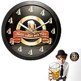 MonsterZeug Kein Bier vor Vier Uhr, Kein Bier vor 4, Bieruhr, Uhr mit Lauter Vieren, Lustige Wanduhr, Witzige Wanduhr