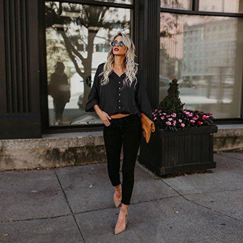 HUHU833 Blouse Femmes Casual à col en V lâche Batte à manches longues mode Tops Sweater Tee-Shirt Noir