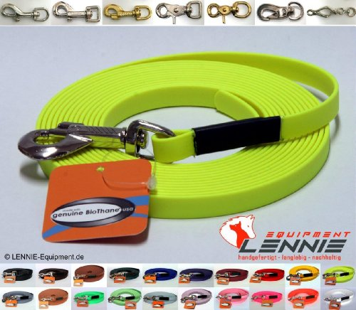 BioThane® Schleppleine 13 mm in 25 Farben [Neon-Gelb] / 1-30 Meter [5m] / genäht / ohne Handschlaufe