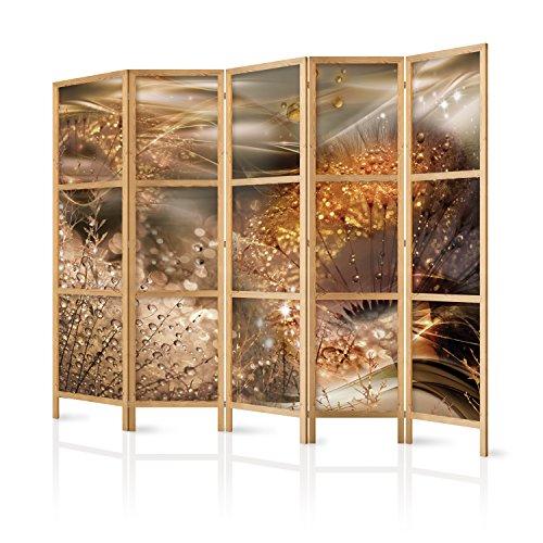 murando - Paravent XXL Pusteblume Abstrakt 225x171 cm - 5-teilig - einseitig - eleganter Sichtschutz - Raumteiler - Trennwand - Raumtrenner - Holz - Design Motiv - Deko - Japan b-A-0360-z-c