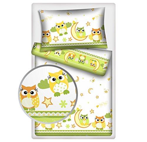 Kinderbettwäsche Eulen 2-tlg. 100% Baumwolle 40x60 + 100x135 cm mit Reißverschluss (grün)