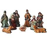 #10: Salvus App SOLUTIONS 9 Piece Nativity Figurine Set for Christmas Decoration- 3.5 Inches (Small), Christmas crib nativity set