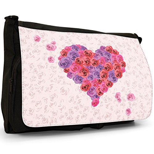 Fancy A Bag Borsa Messenger nero Heart With Elegant Gold Leaf Pattern Hearts Multiple Roses in Pink Red & Purple